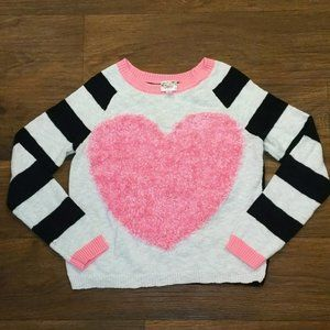 Justice Pink Heart Long Sleeve Sweater Size 14